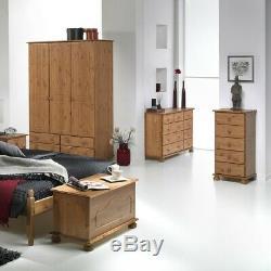 Wide Wardrobe 3 Door 4 Drawer Antique Style Pine Large Wardrobe