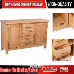 Wood Sideboard Large Storage with 3 Drawers and 2 Door Cupboards Cabinet handles