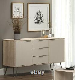 Wooden Retro Large 2 Door 3 Drawer Sideboard Cupboard Cabinet Metal Hairpin Legs